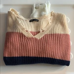 NWT SHEIN color block distressed sweater